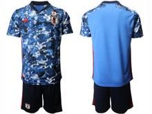 Mens 19-20 Soccer Japan Club Custom Made Blue Eurocup 2020 Home Short Sleeve Suit Jersey