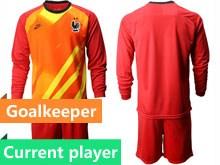 Mens Soccer Tottenham Hotspur Club Current Player Red Eurocup 2020 Goalkeeper Long Sleeve Suit Jersey