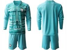 Mens Soccer Tottenham Hotspur Club ( Custom Made ) Blue Eurocup 2020 Goalkeeper Long Sleeve Suit Jersey