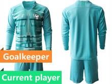 Mens Soccer Tottenham Hotspur Club Current Player Blue Eurocup 2020 Goalkeeper Long Sleeve Suit Jersey