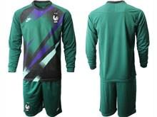 Mens Soccer Tottenham Hotspur Club ( Custom Made ) Dark Green Eurocup 2020 Goalkeeper Long Sleeve Suit Jersey