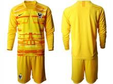 Mens Soccer Tottenham Hotspur Club ( Custom Made ) Yellow Eurocup 2020 Goalkeeper Long Sleeve Suit Jersey