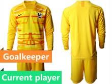 Mens Soccer Tottenham Hotspur Club Current Player Yellow Eurocup 2020 Goalkeeper Long Sleeve Suit Jersey