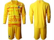 Youth Soccer Tottenham Hotspur Club ( Custom Made ) Yellow Eurocup 2020 Goalkeeper Long Sleeve Suit Jersey