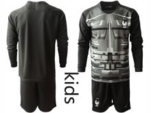 Youth Soccer Tottenham Hotspur Club ( Custom Made ) Black Eurocup 2020 Goalkeeper Long Sleeve Suit Jersey