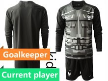 Youth Soccer Tottenham Hotspur Club Current Player Black Eurocup 2020 Goalkeeper Long Sleeve Suit Jersey