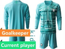 Youth Soccer Tottenham Hotspur Club Current Player Blue Eurocup 2020 Goalkeeper Long Sleeve Suit Jersey