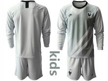 Youth Soccer Tottenham Hotspur Club ( Custom Made ) Gray Eurocup 2020 Goalkeeper Long Sleeve Suit Jersey