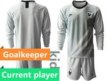Youth Soccer Tottenham Hotspur Club Current Player Gray Eurocup 2020 Goalkeeper Long Sleeve Suit Jersey
