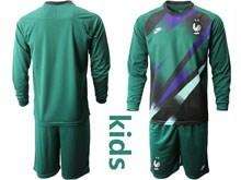 Youth Soccer Tottenham Hotspur Club ( Custom Made ) Dark Green Eurocup 2020 Goalkeeper Long Sleeve Suit Jersey