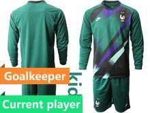 Youth Soccer Tottenham Hotspur Club Current Player Dark Green Eurocup 2020 Goalkeeper Long Sleeve Suit Jersey
