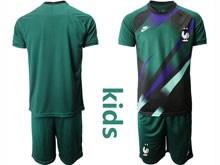 Youth Soccer Tottenham Hotspur Club ( Custom Made ) Dark Green Eurocup 2020 Goalkeeper Short Sleeve Suit Jersey