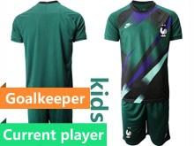 Youth Soccer Tottenham Hotspur Club Current Player Dark Green Eurocup 2020 Goalkeeper Short Sleeve Suit Jersey