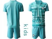 Youth Soccer Tottenham Hotspur Club ( Custom Made ) Blue Eurocup 2020 Goalkeeper Short Sleeve Suit Jersey
