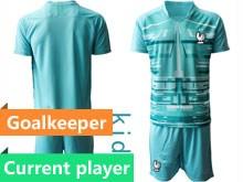 Youth Soccer Tottenham Hotspur Club Current Player Blue Eurocup 2020 Goalkeeper Short Sleeve Suit Jersey