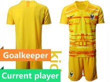 Youth Soccer Tottenham Hotspur Club Current Player Yellow Eurocup 2020 Goalkeeper Short Sleeve Suit Jersey
