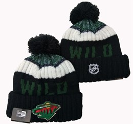 Mens Nhl Minnesota Wild Green&white Sport Knit Hats