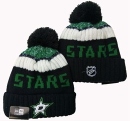 Mens Nhl Dallas Stars Black&white&green Sport Knit Hats