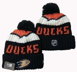 Mens Nhl Anaheim Mighty Ducks Orange&black&white Sport Knit Hats