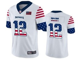 Mens New England Patriots #12 Tom Brady White Retro Usa Flag Vapor Untouchable Limited Jersey