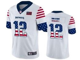 Mens New England Patriots #12 Tom Brady White Retro Usa Flag Vapor Untouchable Limited Jersey