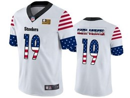 Mens Nfl Pittsburgh Steelers #19 Juju Smith-schuster White Retro Usa Flag Vapor Untouchable Limited Jersey
