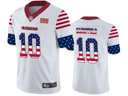Mens Nfl San Francisco 49ers #10 Jimmy Garoppolo White Retro Usa Flag Vapor Untouchable Limited Jersey