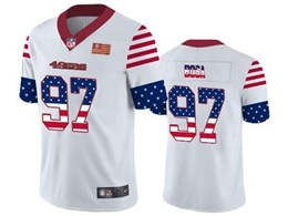 Mens Nfl San Francisco 49ers #97 Nick Bosa White Retro Usa Flag Vapor Untouchable Limited Jersey