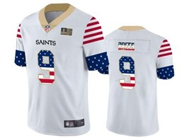 Mens Nfl New Orleans Saints #9 Drew Brees White Retro Usa Flag Vapor Untouchable Limited Jersey