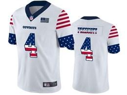 Mens Nfl Dallas Cowboys #4 Dak Prescott White Retro Usa Flag Vapor Untouchable Limited Jersey