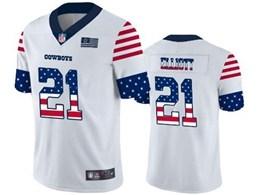 Mens Nfl Dallas Cowboys #21 Ezekiel Elliott White Retro Usa Flag Vapor Untouchable Limited Jersey