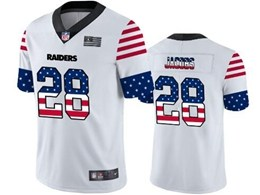 Mens Nfl Oakland Raiders #28 Josh Jacobs White Retro Usa Flag Vapor Untouchable Limited Jersey
