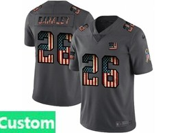Mens Nfl New York Giants Custom Made Black Pays Tribute To Retro Flag Carbon Nike Limited Jerseys