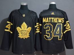 Mens Nhl Toronto Maple Leafs Leafs #34 Auston Matthews Black Golden Adidas Jersey