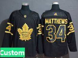 Mens Nhl Toronto Maple Leafs Leafs Custom Made Black Golden Adidas Jersey