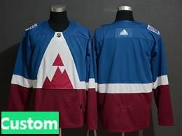 Mens Adidas Colorado Avalanche Custom Made Blue 2020 Stadium Series Stitched Adidas Jersey