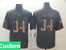 Mens Nfl Chicago Bears Custom Made Black Pays Tribute To Retro Flag Carbon Nike Limited Jerseysy