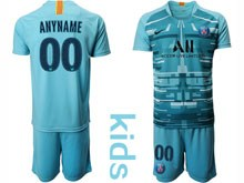 Youth 19-20 Soccer Paris Saint Germain ( Custom Made ) Blue Goalkeeper Short Sleeve Suit Jersey