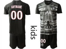 Youth 19-20 Soccer Paris Saint Germain ( Custom Made ) Black Printing Goalkeeper Short Sleeve Suit Jersey