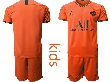 Youth 19-20 Soccer Paris Saint Germain ( Custom Made ) Orange Goalkeeper Short Sleeve Suit Jersey