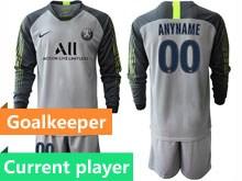 Mens 19-20 Soccer Paris Saint Germain Current Player Gray Goalkeeper Long Sleeve Suit Jersey