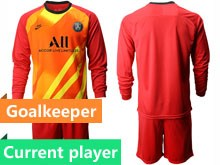 Mens 19-20 Soccer Paris Saint Germain Current Player Red Goalkeeper Long Sleeve Suit Jersey