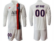 Mens 19-20 Soccer Paris Saint Germain ( Custom Made ) White Second Away Long Sleeve Suit Jersey