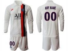 Mens 19-20 Soccer Paris Saint Germain ( Custom Made ) White Second Away Long Sleeve Suit Jersey