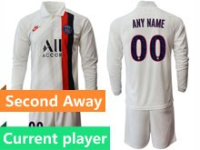 Mens 19-20 Soccer Paris Saint Germain Current Player White Second Away Long Sleeve Suit Jersey
