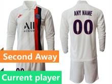 Mens 19-20 Soccer Paris Saint Germain Current Player White Second Away Long Sleeve Suit Jersey