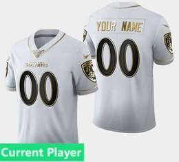 Mens Nfl Baltimore Ravens Current Player White Golden 100th Vapor Untouchable Limited Jersey