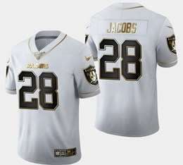 Mens Nfl Oakland Raiders #28 Josh Jacobs White Golden 100th Vapor Untouchable Limited Jersey