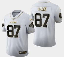 Mens Nfl Kansas City Chiefs #87 Travis Kelce White Golden 100th Vapor Untouchable Limited Jersey