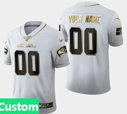 Mens Nfl Seattle Seahawks Custom Made White Golden 100th Vapor Untouchable Limited Jersey